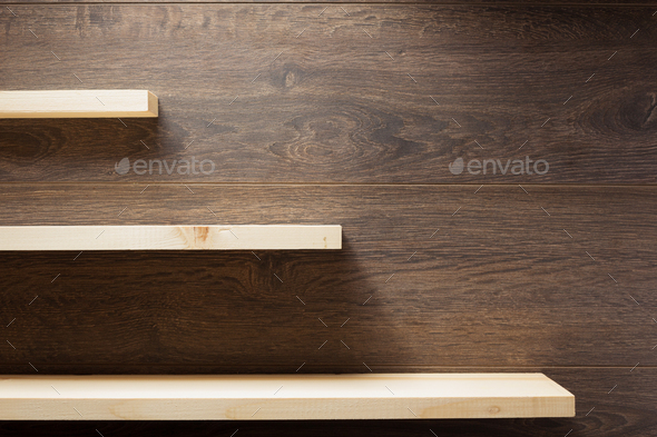 wooden shelf at brown background - Stock Photo - Images