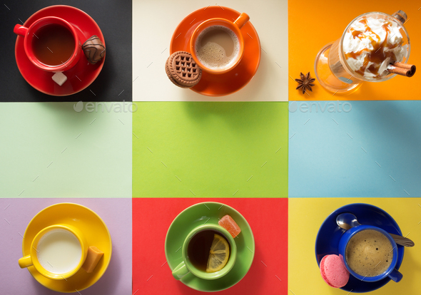 cup of coffee, tea and cacao at paper - Stock Photo - Images