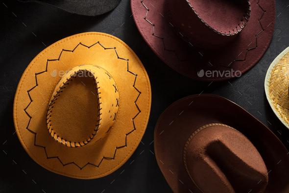 cowboy hat on  black - Stock Photo - Images