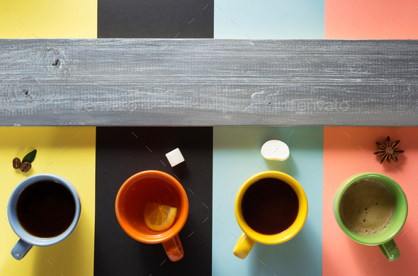cup of coffee, tea and cacao - Stock Photo - Images