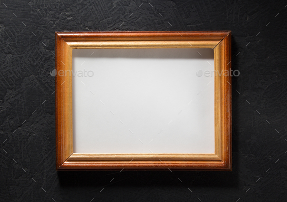 photo picture frame at black background - Stock Photo - Images