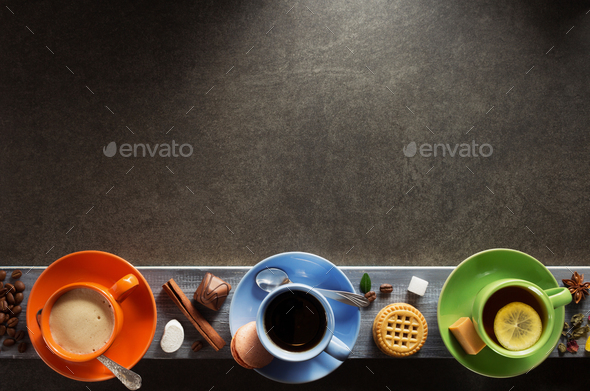 cup of coffee, cacao and tea - Stock Photo - Images