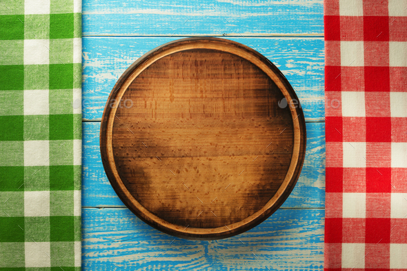 pizza cutting board at wood - Stock Photo - Images