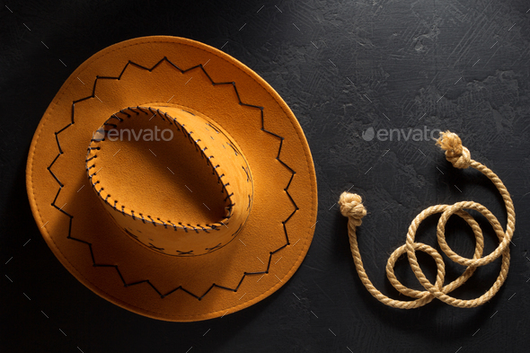 cowboy hat on wooden background - Stock Photo - Images