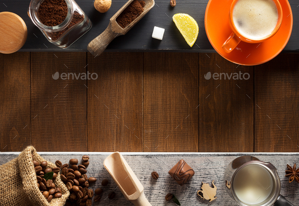 cup of coffee at table - Stock Photo - Images