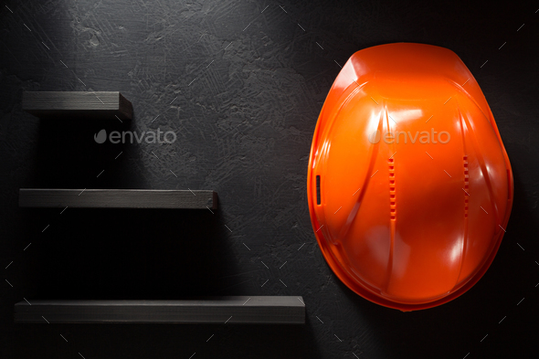 construction helmet on black - Stock Photo - Images