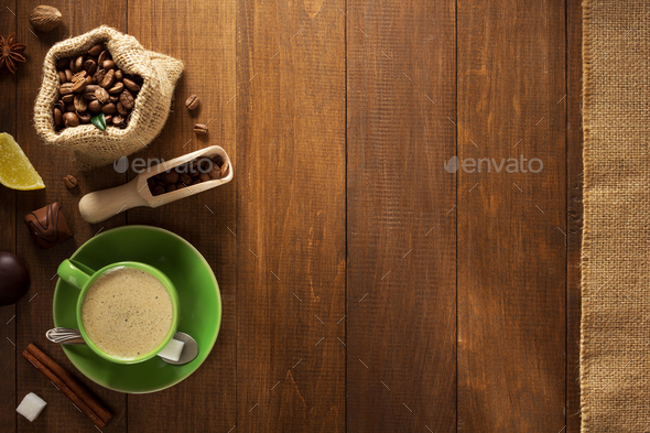cup of coffee and beans - Stock Photo - Images
