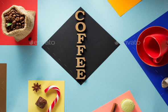 cup of coffee  at abstract colorful - Stock Photo - Images