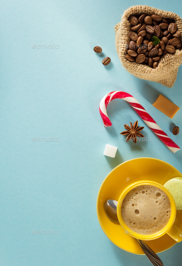 coffee cup and beans at blue background - Stock Photo - Images