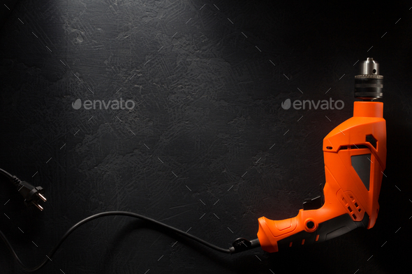 electric drill with cord - Stock Photo - Images