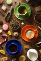 cup of coffee, tea and cacao at table - PhotoDune Item for Sale