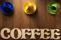 cup of coffee and letters on wood - PhotoDune Item for Sale