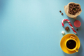 coffee cup and beans at blue background - PhotoDune Item for Sale