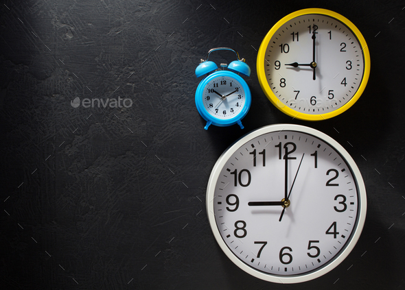 wall clock  at black background - Stock Photo - Images