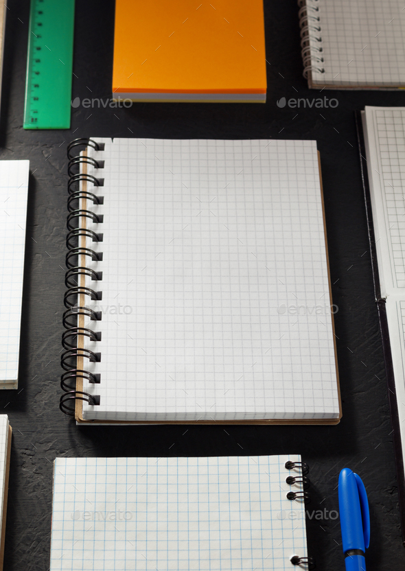 school supplies and notebook - Stock Photo - Images