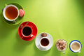 cup of coffee, tea and cacao at colorful background - PhotoDune Item for Sale