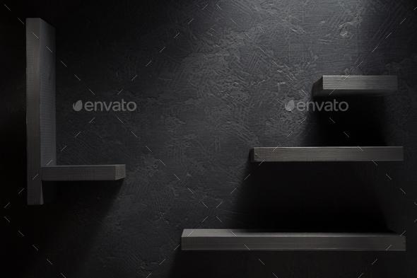 wooden shelf  on black - Stock Photo - Images