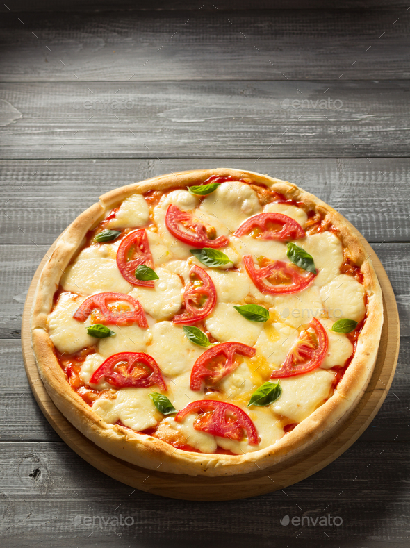 margarita pizza at wood - Stock Photo - Images