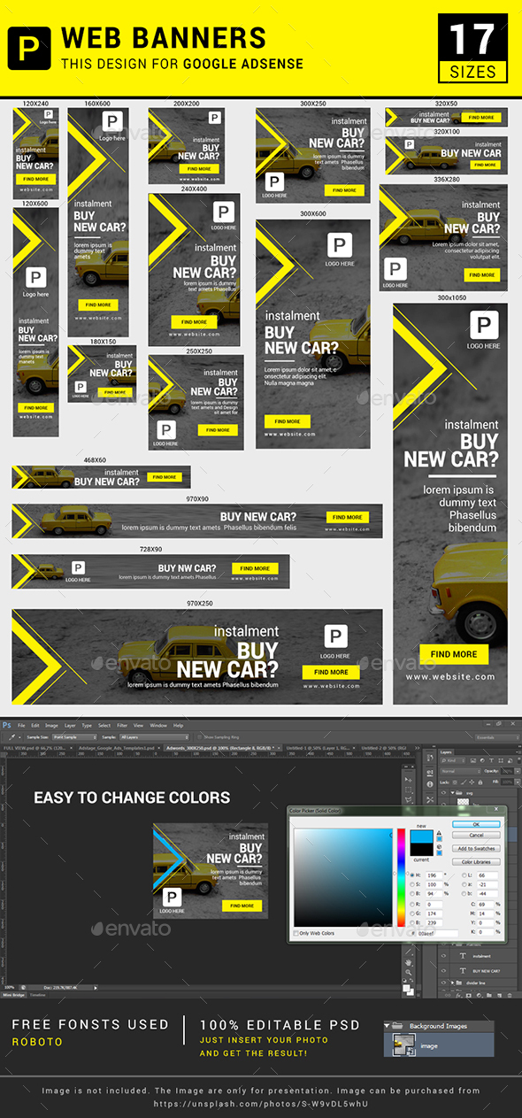 Car banner ads - Banners & Ads Web Elements