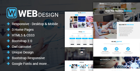 Image of Web Design - Responsive One Page HTML Template