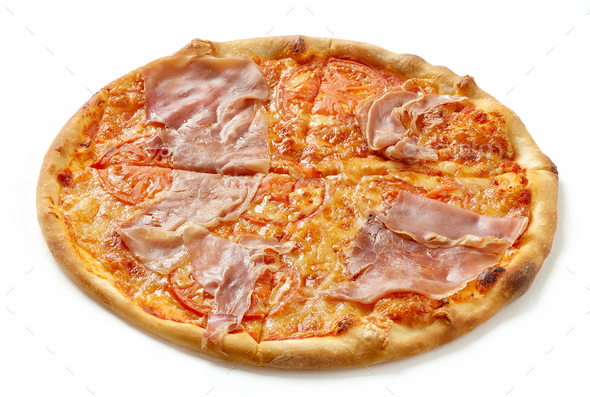 Ham and tomato pizza - Stock Photo - Images