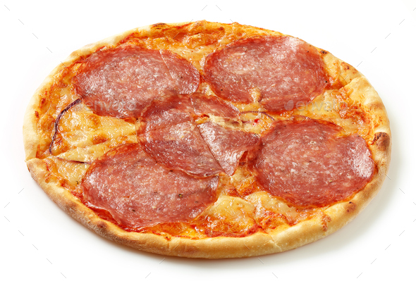 Salami pizza on a white background - Stock Photo - Images