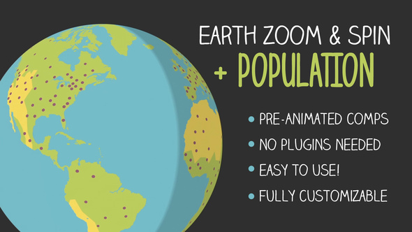 Earth zoom and spin with population by emerywheel videohive play preview video download preview gumiabroncs Gallery