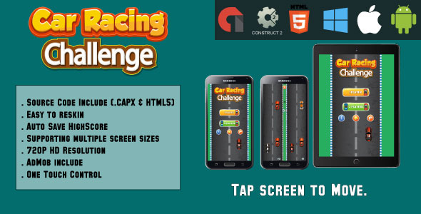 Car Racing challenge - HTML5 Game - Mobile Version - (.CAPX & HTML) - CodeCanyon Item for Sale