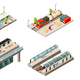 Isometric Modern Railway Transport Collection
