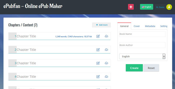 ePubFan - Online ePub Maker, Composer & Manager - Lite - CodeCanyon Item for Sale