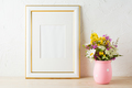 Gold decorated frame mockup with wildflowers in pink vase - PhotoDune Item for Sale