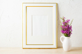 Gold decorated frame mockup and purple wildflowers in pitcher - PhotoDune Item for Sale