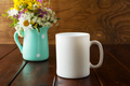 White coffee mug rustic mockup with wildflowers in mint green va - PhotoDune Item for Sale