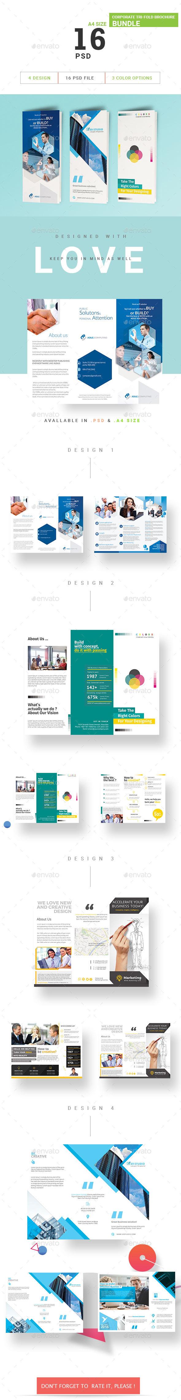 Corporate Tri-Fold Brochure Bundle - Brochures Print Templates