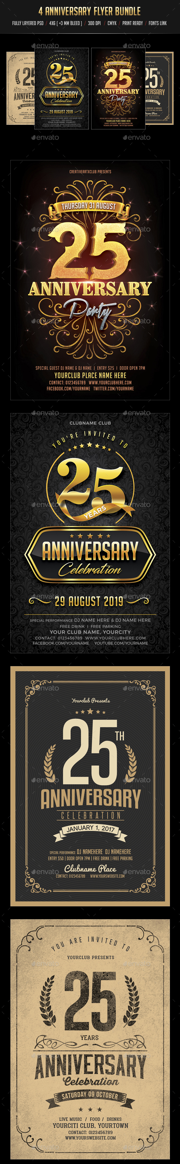 Anniversary Flyer Bundle - Clubs & Parties Events
