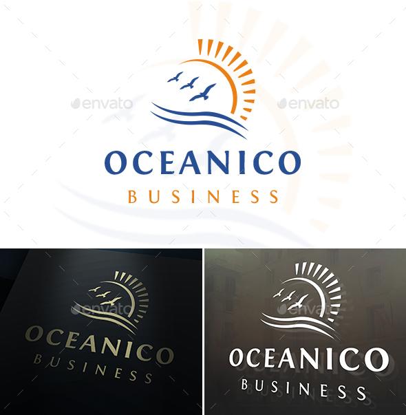 Ocean Birds Sun Logo - Nature Logo Templates