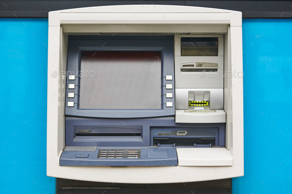 ATM machine detail. Cashpoint. Financial and banking operation. Horizontal - Stock Photo - Images