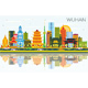 Wuhan China City Skyline with Color Buildings - GraphicRiver Item for Sale