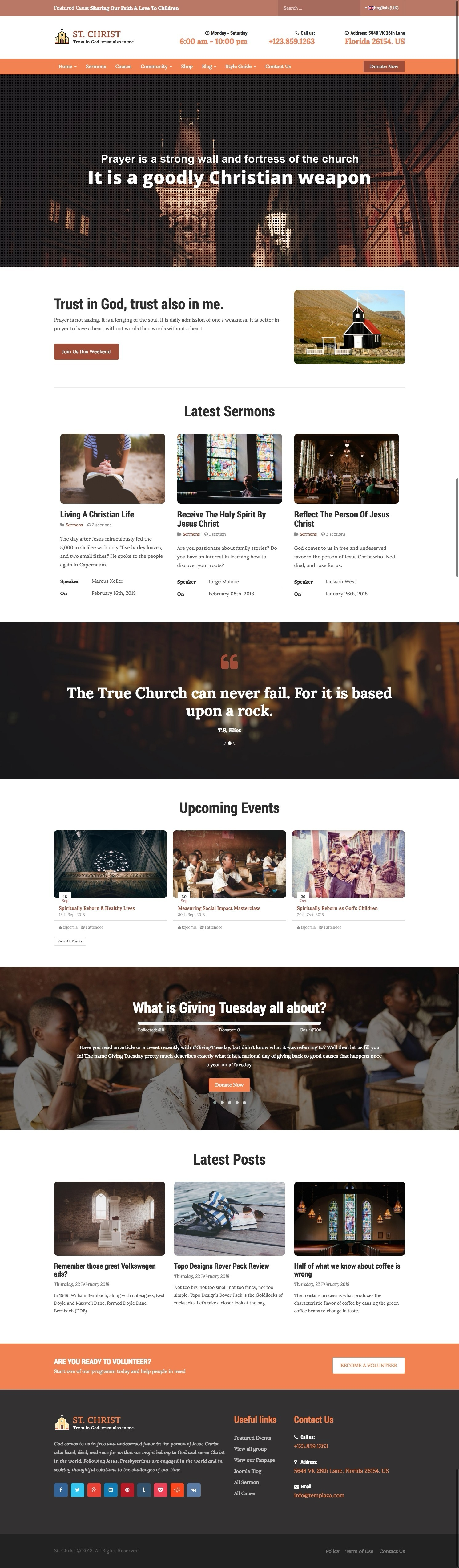 St Christ Church Charity Joomla Template By Templaza Themeforest