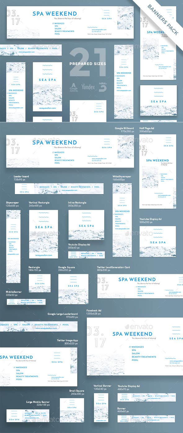 Spa Weekend Banner Pack - Banners & Ads Web Elements
