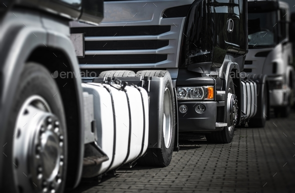 Trucks Staying in Traffic - Stock Photo - Images