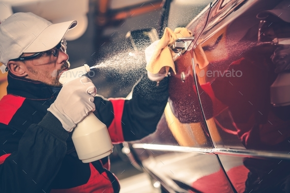 Cleaning American Classic Car - Stock Photo - Images