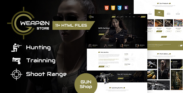 Image of Weapon Store - Gun Shop HTML Template