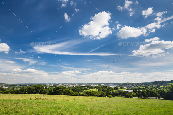 Aachen Overview With Deep Blue Sky - Stock Photo - Images