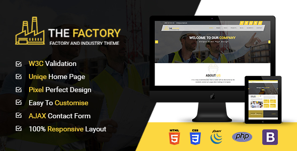 Image of The Factory - Construction, Factory and Industry HTML5 Template