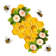 Bees, Honeycombs and Flowers on White Background. - GraphicRiver Item for Sale