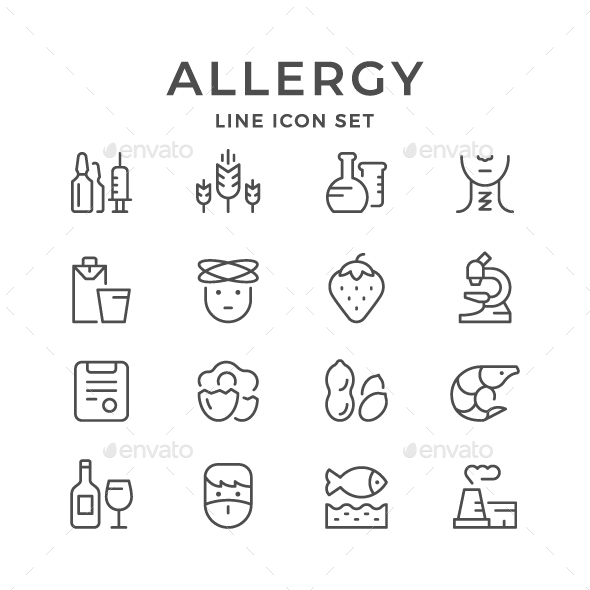 Set Line Icons of Allergy - Man-made objects Objects