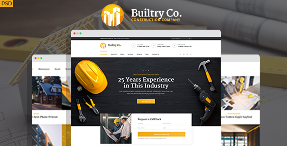 Builtry - Construction & Building Company PSD Template - Business Corporate