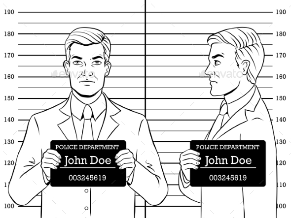 Arrested Man Photo in Police Coloring Book Vector by AlexanderPokusay
