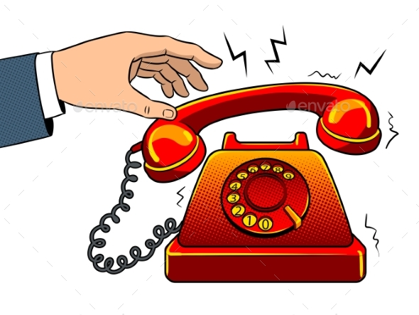 Red Hot Old Phone Pop Art Vector Illustration - Miscellaneous Vectors